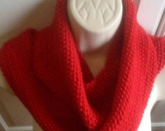 unique womens designer moss stitch irish Celtic design hand knit/crocheted red cowl,scarf,infinity neck warmer