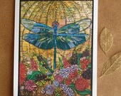 Dragonfly Art Card. Art Nouveau. Dragonfly Greeting Card. Tiffany Stained Glass. Dragonfly Invitation. Thank You Card, Note card