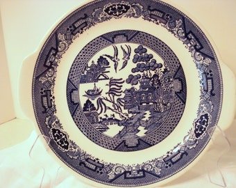 Blue Willow Ware by Royal China Cake Plate Platter Sebring Transferware Vintage