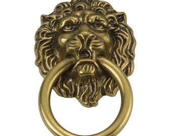 NEOCLASSICAL Antique Brass Elegant Lion's Head Furniture Drawer PULL RING..Old Hollywood Regency Designer Decorator Quality