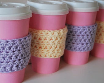Set of 4 Crocheted Coffee Sleeves ~ Gift ~ On The Go ~ Custom Colors ~ Go Green ~