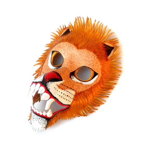 Lion Mask Animal Carnival children adult Halloween Costume Leather Mask Gift Circus Masquerade Party Earth Day Birthday Horoscope Leo Africa