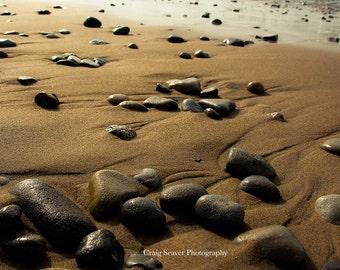 Beach Photograph, Beach Rocks, Michigan, Lake Michigan Photography, Leelanau, Traverse City, Beach Photo