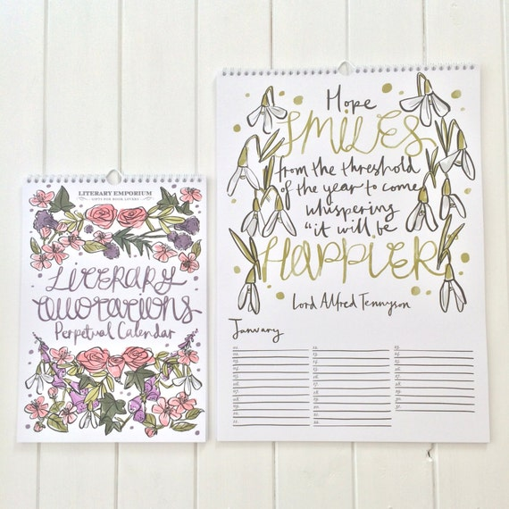Literary Quotations Perpetual Calendar - Quote Calendar - Stationery - Literature Gift for Book Lover
