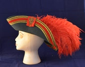 Pirate hat bicorn style gray with red/gold trim