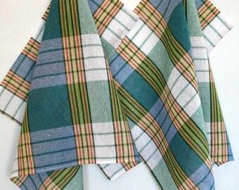 Cotton Kitchen Towels Dish Towels Green Blue Tea Towels set of 2