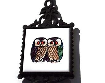 60's Owl Trivet Mid Century Woodstock Vintage Hippie Cast Iron Hand Painted Tile Coaster Nuzzling Owls Super Cute JAPAN