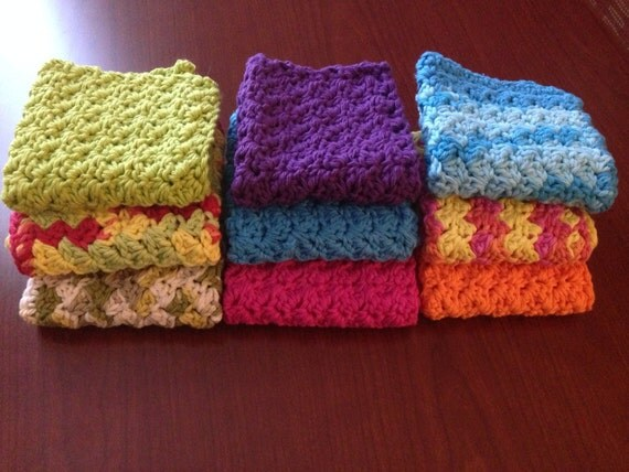 Crocheting Dish Rags : ... Crochet dish rag, dish rag, set of 4, cotton dish rag, knit dish rag