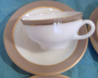 Pyrex Glass - White Dove Grey and Gold Trim - Cups and Saucers -  Set of 4 (3 sets available)