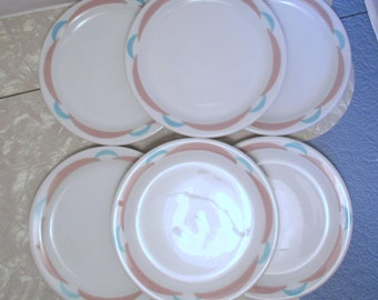 Shenango Restaurant Diner China Lawrence Ware Geometric Scallop Pink Tan and Turquoise - Bread and Butter Plates - Set of 6