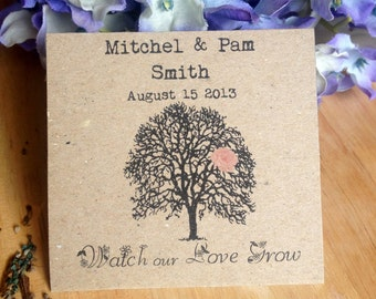 """Seed Bag Wedding Favor """"Tree Of Love""""- Eco Friendly 100% Recycled Bag - Empty"""