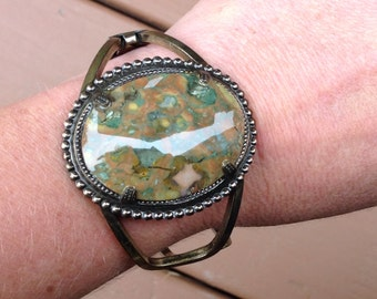 Large Jasper stone hinged bracelet cuff in brass