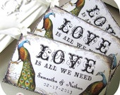 Peacock Wedding Favor Tags Thank you Tags Wish tree hang tags guest book alternative Whimsical Vintage Silver or Gold Glitter Handmade