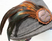 Feathered Hat Pin- Rooster Feather- Leather- Festival