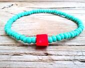 Red coral block bracelet