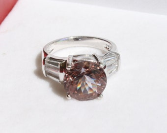 Color Change Zandrite with Cz Baguette Accents Ring Rhodium Plated Sterling Silver Size 5 Round Solitaire with Accents