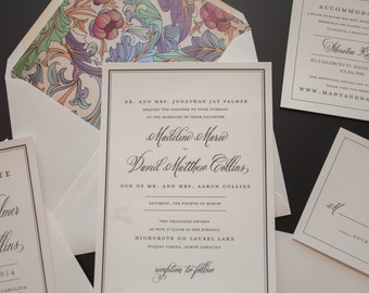 Classic Wedding Invitation, Traditional Wedding Invitation, Garden Invitation, Wedding Invitations, Elegant Wedding Invitation