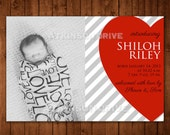 Valentine Birth Announcement. Stripes & Hearts Printable Announcement. February Baby Announcement.