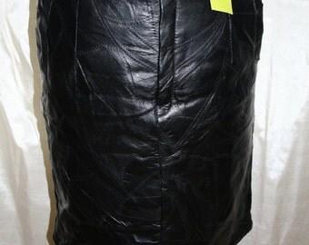 Black Leather Skirt/ 1980s Leather Skirt/Black Leather Skirt
