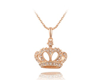 Classic Crown Necklace, Rose Gold Plated, Teens, Mothers Day Gift, Birthday Gift, Sweet 16 gift, Graduation Gift