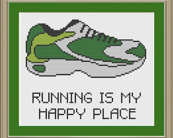 Running is my happy place: running shoe cross-stitch pattern