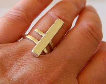 Minimal silver bar ring, geometry minimal ring, contemporary bar silver ring, minimal ring for her, under 45 50 55.