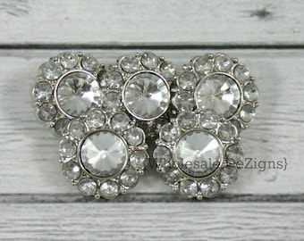 5 Clear Rhinestone Buttons - 21mm Acrylic - Set of Five