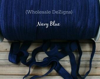 """Navy Blue FOE - Fold Over Elastic - 5/8"""" Foe Headbands - Hair Ties - Shiny Satin Elastic"""