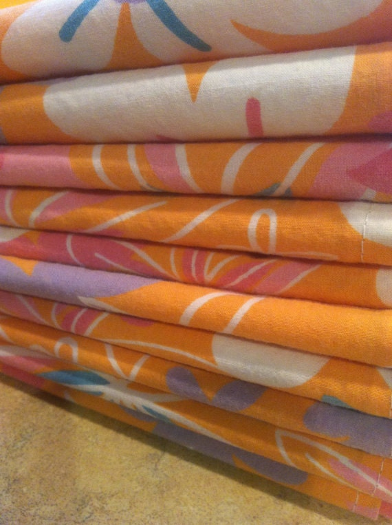 Eco Friendly Cloth Napkins, Set of 6 - 12 inch, Orange Retro Flowers, Vintage Fabric, by CHOW with ME