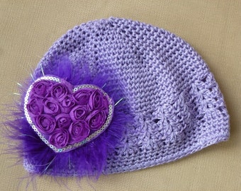 Girl's Chemo Lavendar Hand Decorated Hat with Purple Rosette Heart and Purple Maribou Puff, Purple Crochet Chemo Hat