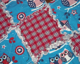 "Primitive Patriotic Owl Rag Quilt Table Runner~14""W x 28""L~July 4th~Americana"