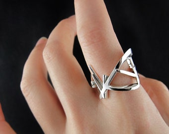 Unique 3D printed sterling silver ring, geometric 3D printed jewelry, statement ring