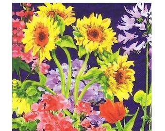 Flower Decoupage Napkins MIDNIGHT BLUE SUNFLOWER Garden 4 count Beverage size paper napkins Dark Blue Yellow Red Lavender