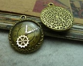 10PCS 23 x 20mm Clock  gear  Charm  -  Antique Bronze charm pendant  Jewelry Findings