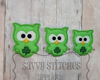 Kookie Owl Shamrock Felt Clip Embroidery Design