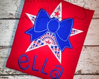 Star Bow Machine Embroidery Applique Design