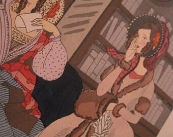 Devinez qui m'ecrit - Guess whom this is from - Rosa Sara (Ro) Keezer: Original Pochoir Fashion Print C1930s
