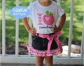 I love Preschool Pink Chevron and Polka Dots Boutique Outfit - Ruffled Shirt and Jean Skirt - Kindergarten, First Grade, Etc...