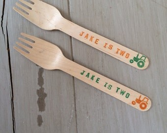 Ice Cream Spoons, Wooden Silverware, Farm Birthday, Tractor Birthday Party, Customized Wooden Ice Cream Party Spoons or Forks (20)