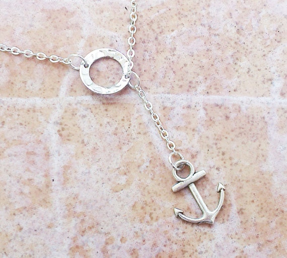 Lariat silver anchor necklace charm lariat