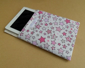 Pink & White Star Padded Ipad Sleeve, Pink And White Padded Ipad Sleeve, 100% Cotton Ipad Case,