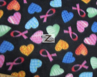 "Cancer Awareness Fleece Fabric - Heart Ribbons - Sold By The Yard 60"" Width (267)"