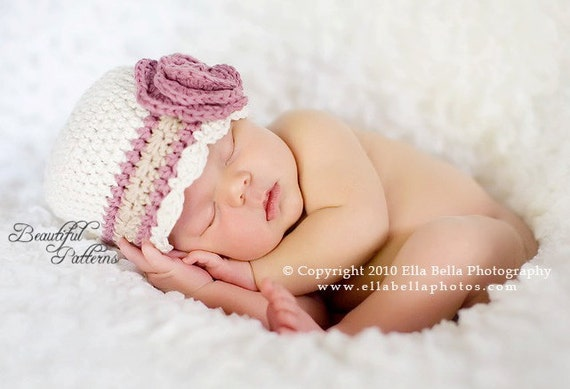 Crochet Hat Pattern Baby Flapper Beanie with Rose Hat PDF 100 Newborn to Adult  Photo Prop Instant Download