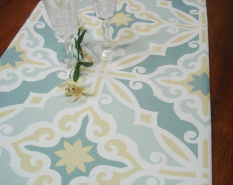 """Yellow  Blue  Table Runner - Wedding - 13"""" X 52"""" Table Cloth - Decorative Bridal  Table Runner .  Fabric Runner .  """" Moroccan  Tile"""""""