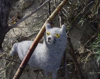Woodland wolf stuffed toy, recycled ecofriendly toys