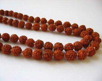 Rudraksha Prayer Beads Mala Necklace 108 Bead Strand with Guru Bead Tibetan 41 inch Strand Natural Material Seed Wholesale CrazyCoolStuff