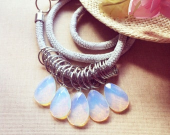 Moonstone Statement Necklace- Moonstone Necklace, Tribal Necklace, Cord Necklace, Fashion Necklace, Opalite Necklace  FREE SHIPPING