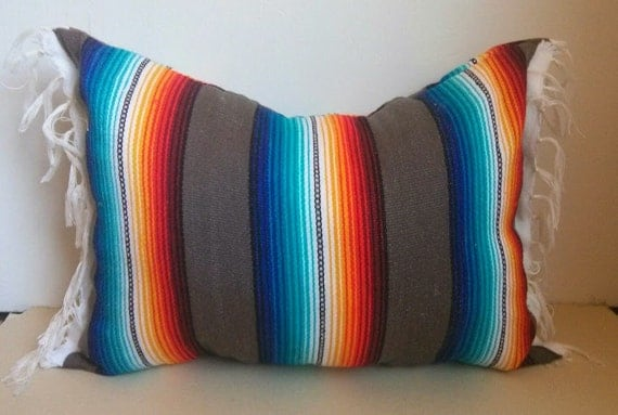 mexican blanket pillow / urban outfitters by SeaGypsyCalifornia