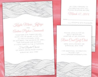 Custom Abstract Wave Wedding Invitations