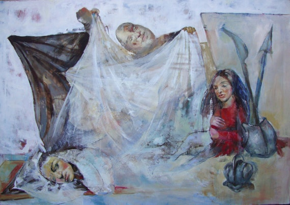 "Painting- Mixed media ""Es Obligatorio"" by Yelena Parharidou"